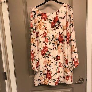 Mini long sleeve floral print dress